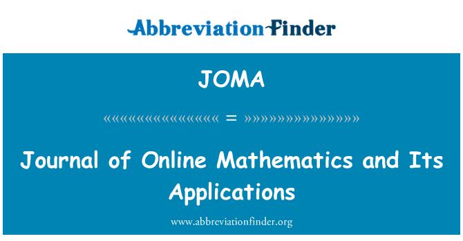 JOMA: Revista de matemáticas en línea y sus aplicaciones