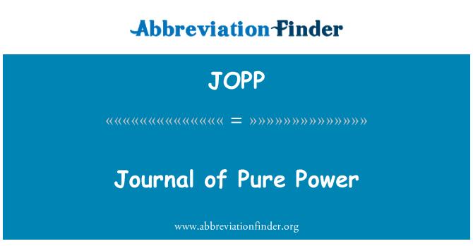 JOPP: Journal of Pure Power