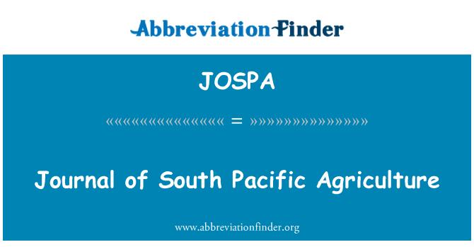 JOSPA: 南太平洋农业杂志