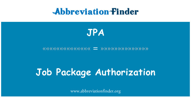 JPA: Job Package Authorization