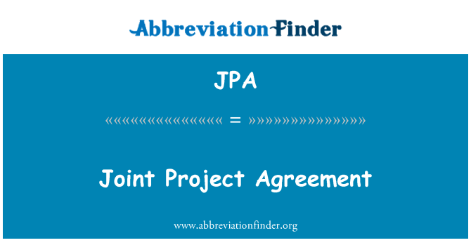 JPA: Joint Project Agreement