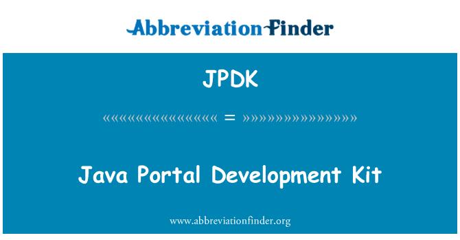 JPDK: Java Portal Development Kit