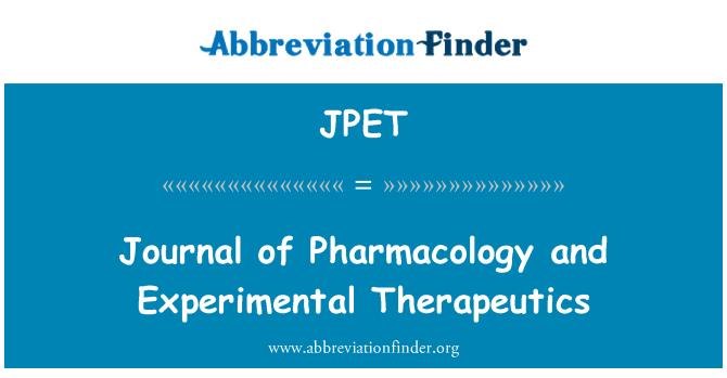 JPET: Revista de Farmacología y Terapéutica Experimental