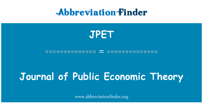 JPET: Journal of Public Economic Theory