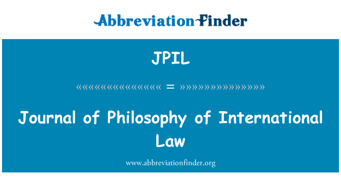 JPIL: Journal of Philosophy of International Law