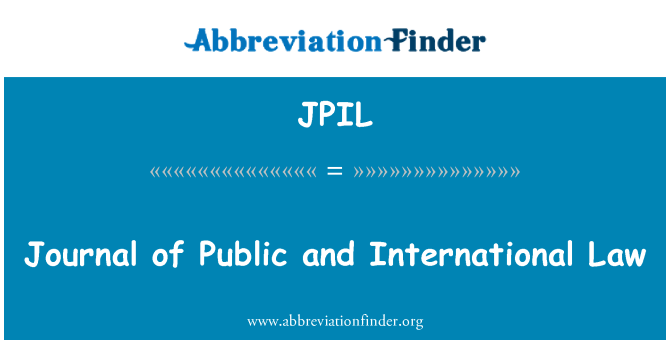 JPIL: Journal of Public and International Law