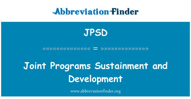 JPSD: Ortak Programlar Sustainment ve geliştirme