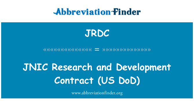 JRDC: JNIC   Research and Development Contract (US DoD)