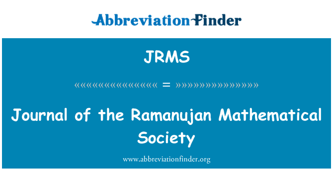 JRMS: Journal of the Ramanujan Mathematical Society