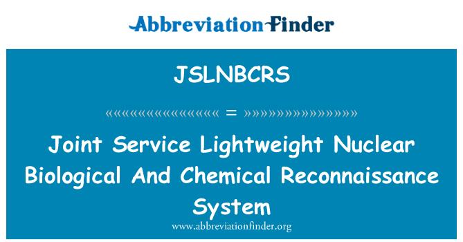 JSLNBCRS: 联合服务轻核生化侦察系统
