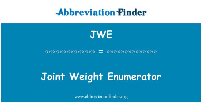 JWE: Müşterek ağırlık Numaralandırıcı