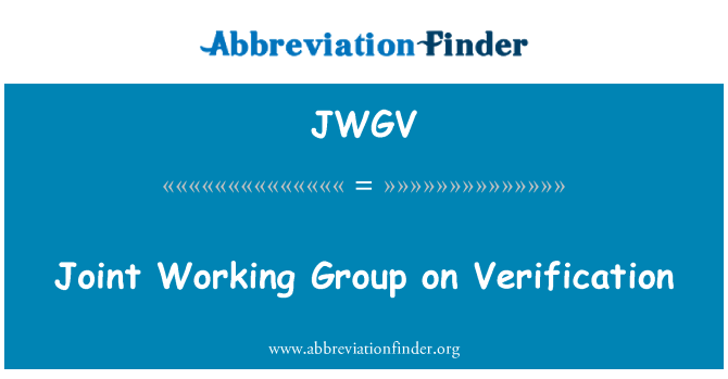 JWGV: Joint Working Group on Verification