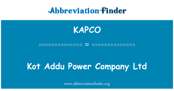 KAPCO: Kot Addu Power Company Ltd