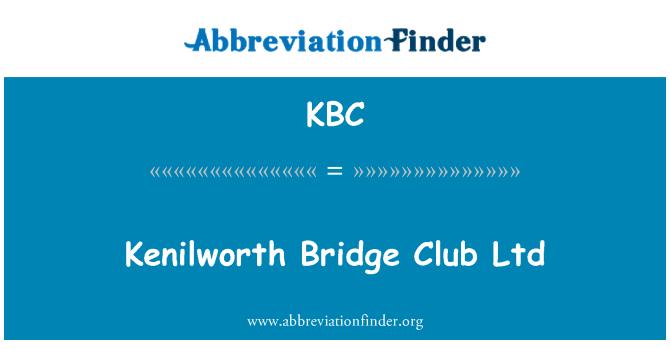 KBC: Kenilworth Bridge Club Ltd