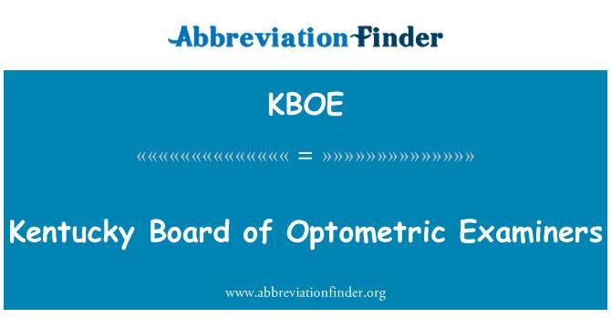 KBOE: Kentucky Board of Optometric Examiners