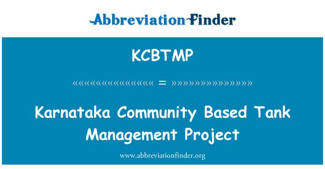 KCBTMP: Karnataka Community Based Tank Management Project