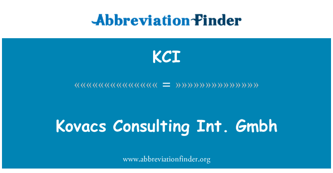 KCI: Kovacs Consulting Gmbh int.