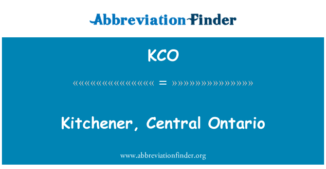 KCO: Kitchener, Central Ontario