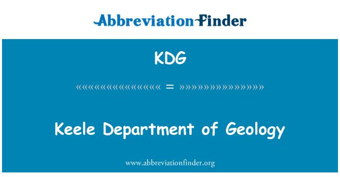 KDG: Keele Department of Geology
