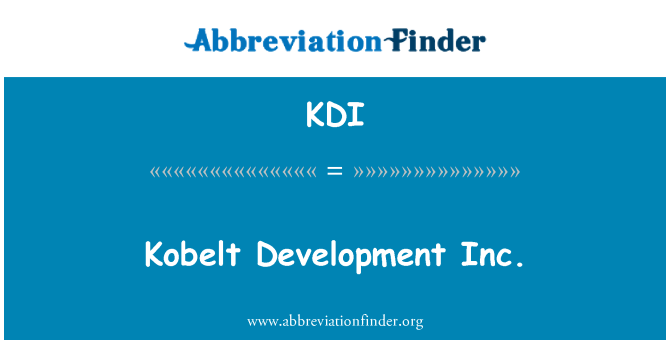 KDI: Kobelt Development Inc.