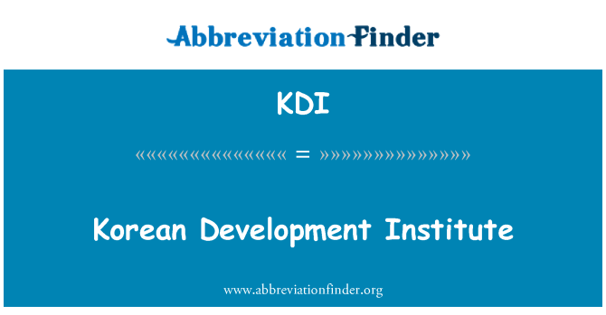 KDI: Korean Development Institute