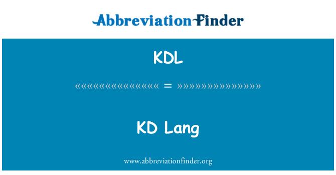 KDL: KD Lang