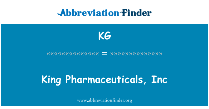 KG: King Pharmaceuticals, Inc