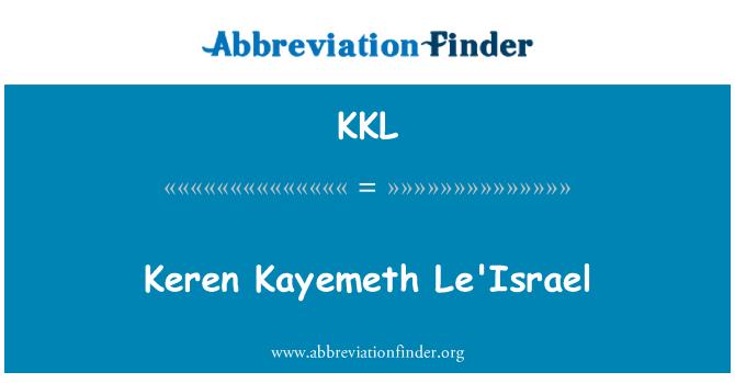 KKL: Keren Kayemeth Le'Israel