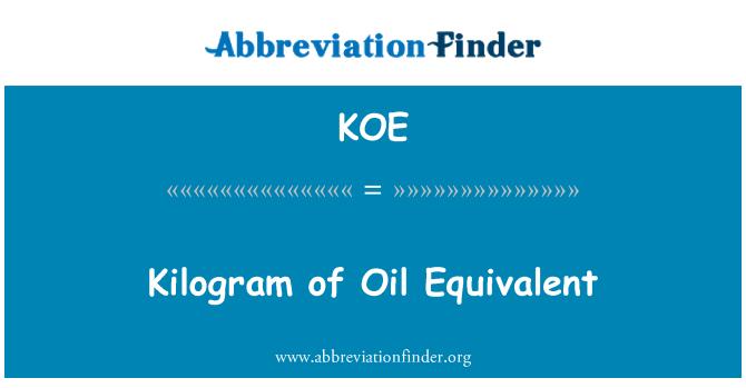 KOE: Kilogram of Oil Equivalent