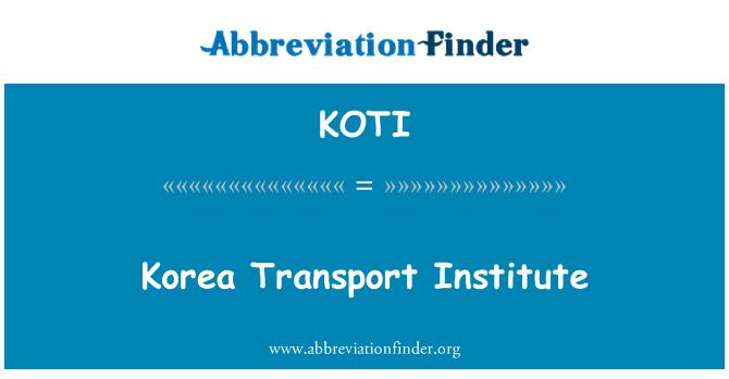 KOTI: Instituto de transporte de Corea
