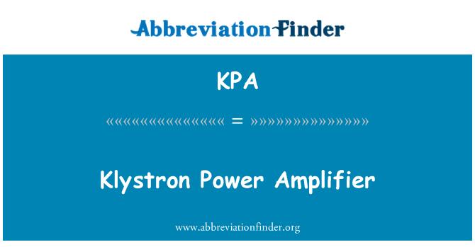 KPA: Klystron Power Amplifier