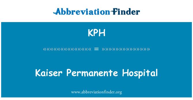 KPH: Kaiser Permanente Hospital