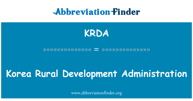 KRDA: Korea Rural Development Administration