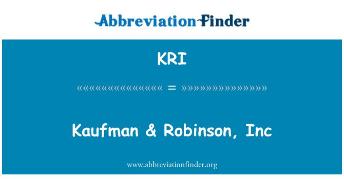 KRI: Kaufman & Robinson, Inc