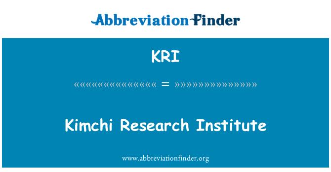 KRI: Kimchi Research Institute