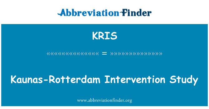 KRIS: Kaunas-Rotterdam müdahale çalışma