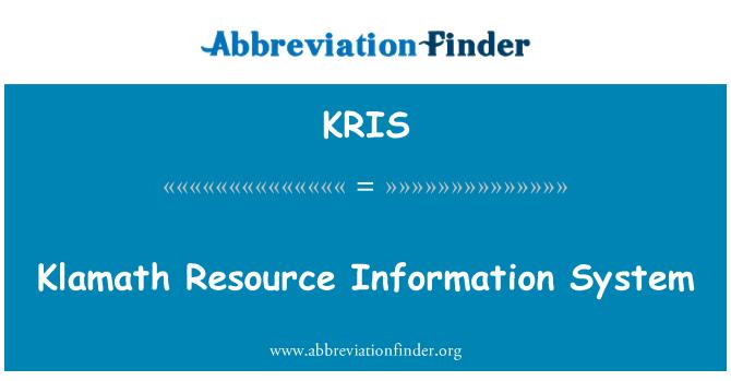 KRIS: Klamath infosüsteemi