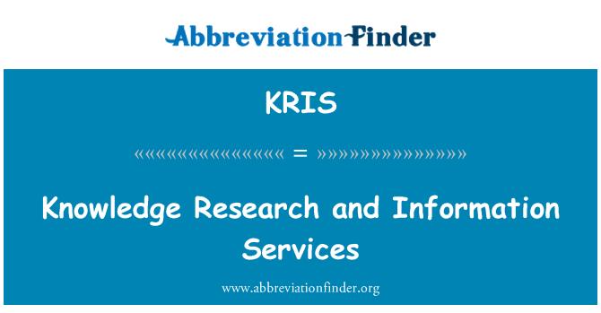 KRIS: Teadmised uurimistöö ja infoteenused