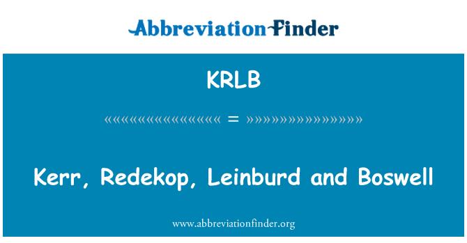 KRLB: Kerr, Redekop, Leinburd and Boswell