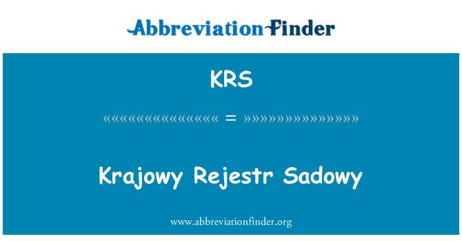 KRS: Krajowy Rejestr Sadowy