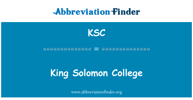 KSC: King Solomon College