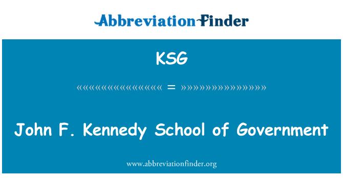 KSG: John F. Kennedy School of Government