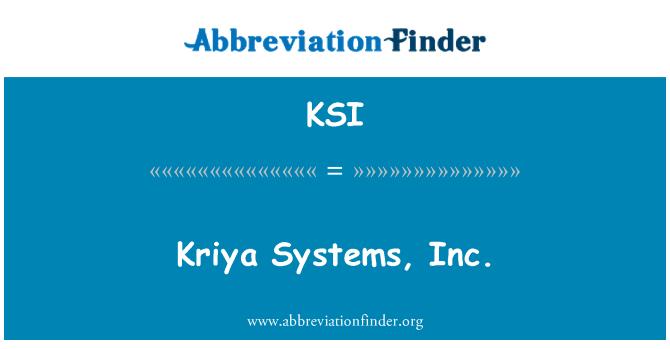 KSI: Kriya Systems, Inc.