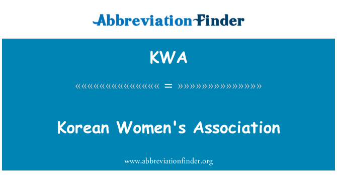 KWA: Korean Women's Association