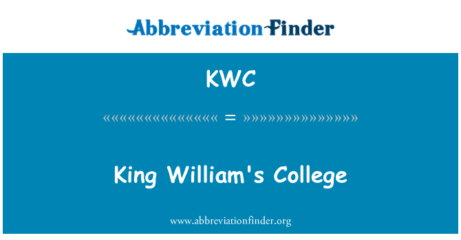 KWC: King William'ın üniversite