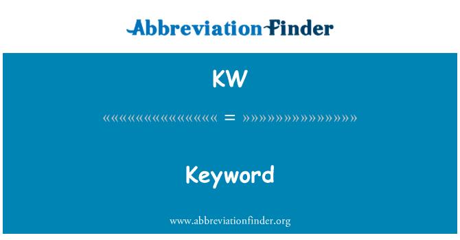 KW: Keyword