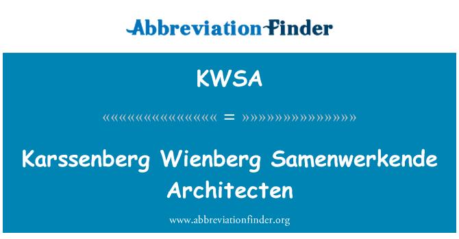 KWSA: Karssenberg Wienberg Samenwerkende Architecten