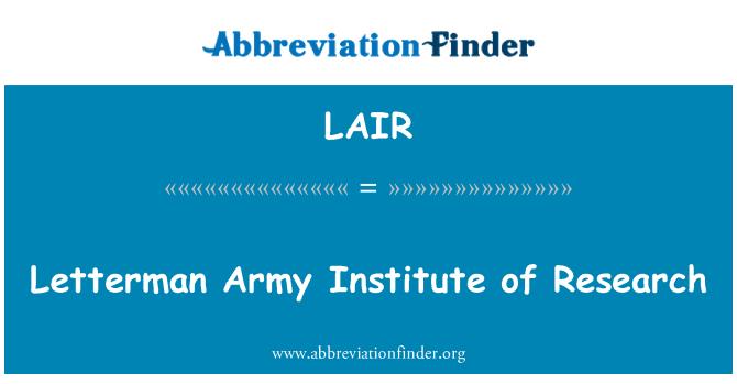 LAIR: Letterman tentera Institut Penyelidikan