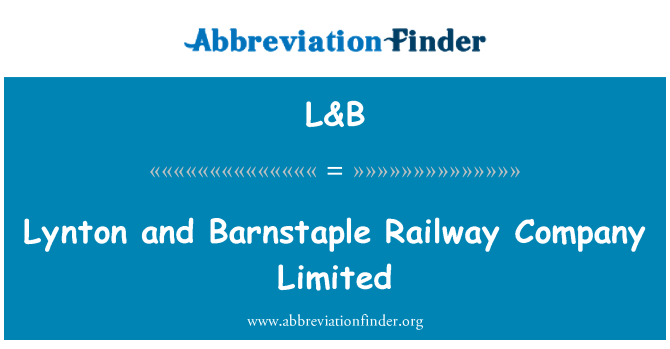 L&B: Lynton and Barnstaple Railway Company Limited