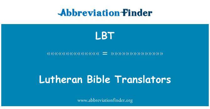 LBT: Lutheran Bible Translators